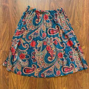 Vintage Pleated Paisley Midi Skirt